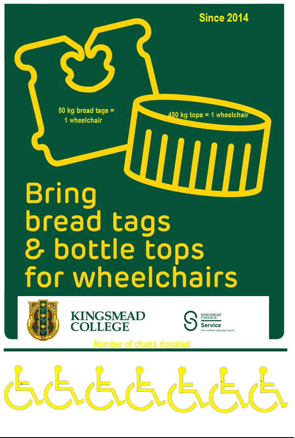 new breadtag bottletop poster 7 wheelchairs Kingsmead College
