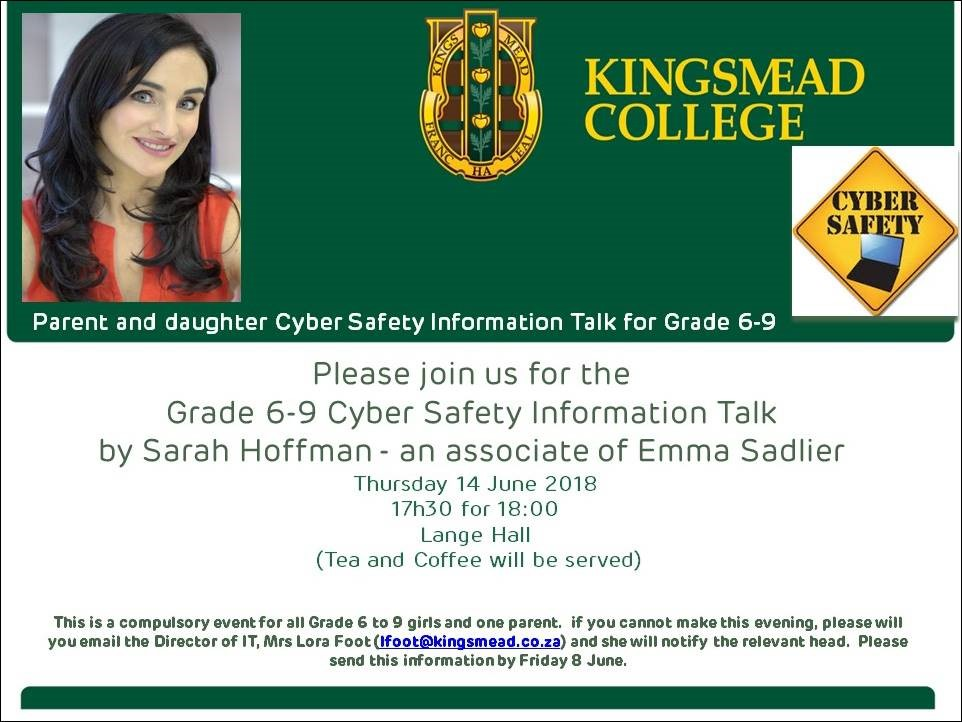 Invitation cyber safety Kingsmead College