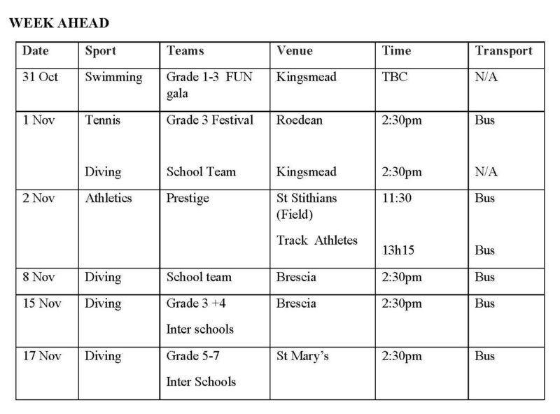 Monday 29 October 2018 Kingsmead College