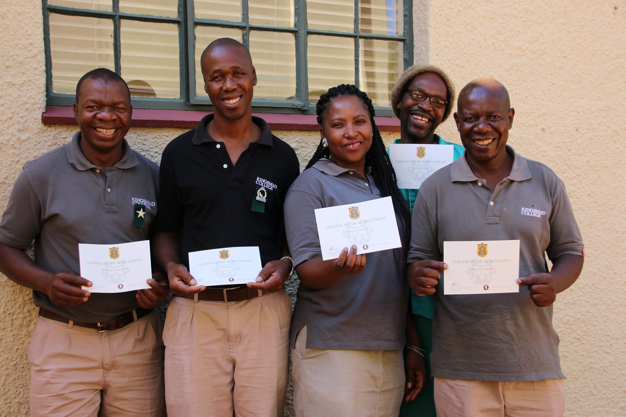Kingsmead College staff with First Aid Certificates