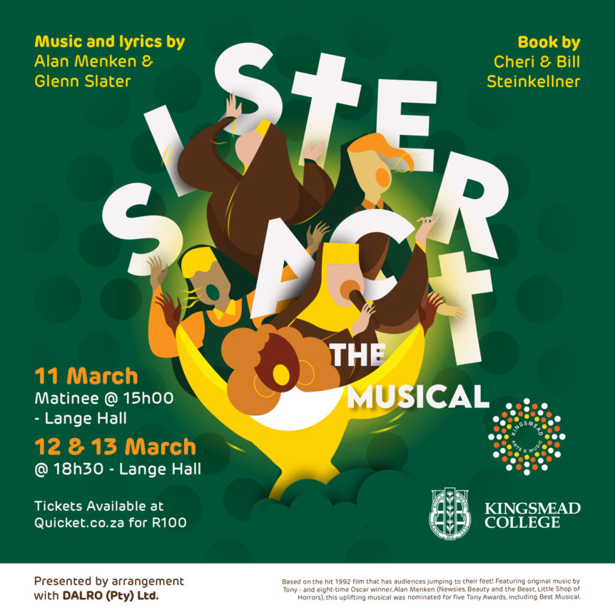 12862 KM Sister act musical Quicticket artwork Square RGB 02 20200226 1 Kingsmead College