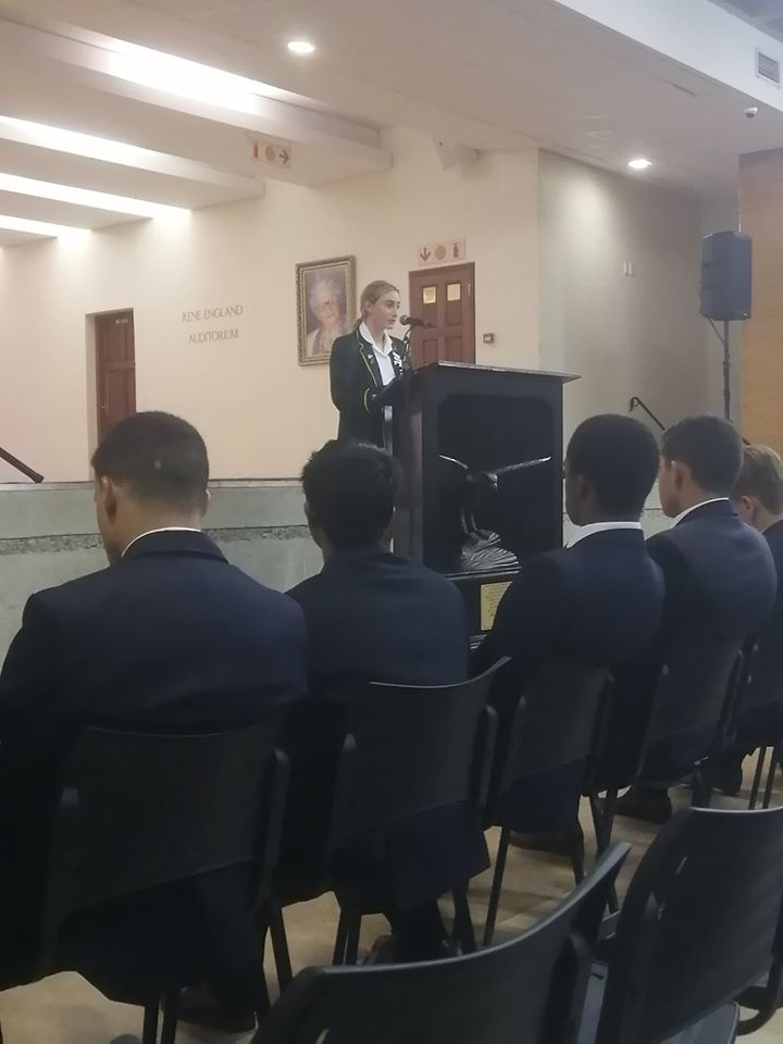 St John's College students with Kingsmead girls speech