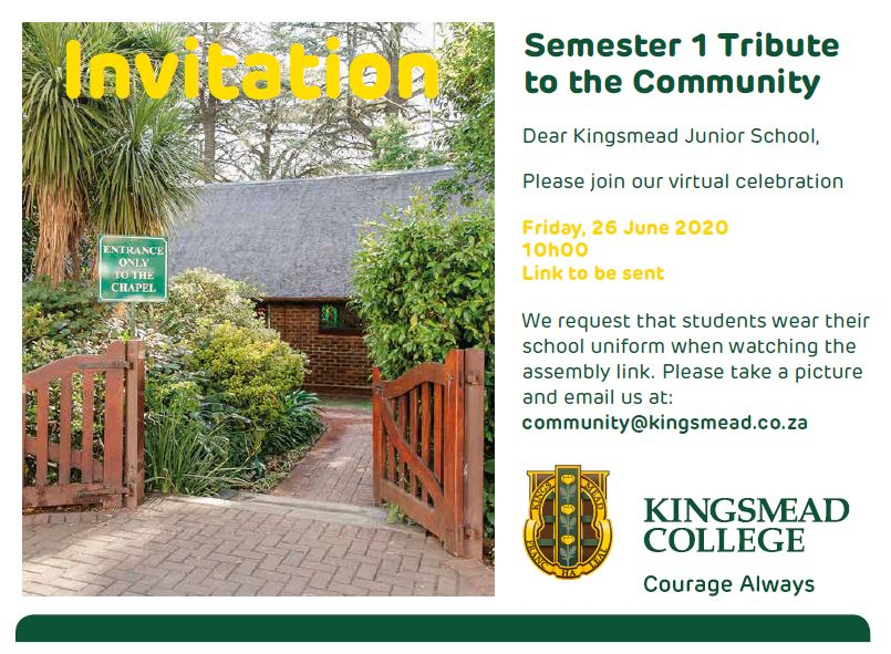 Assembly Invite Kingsmead College