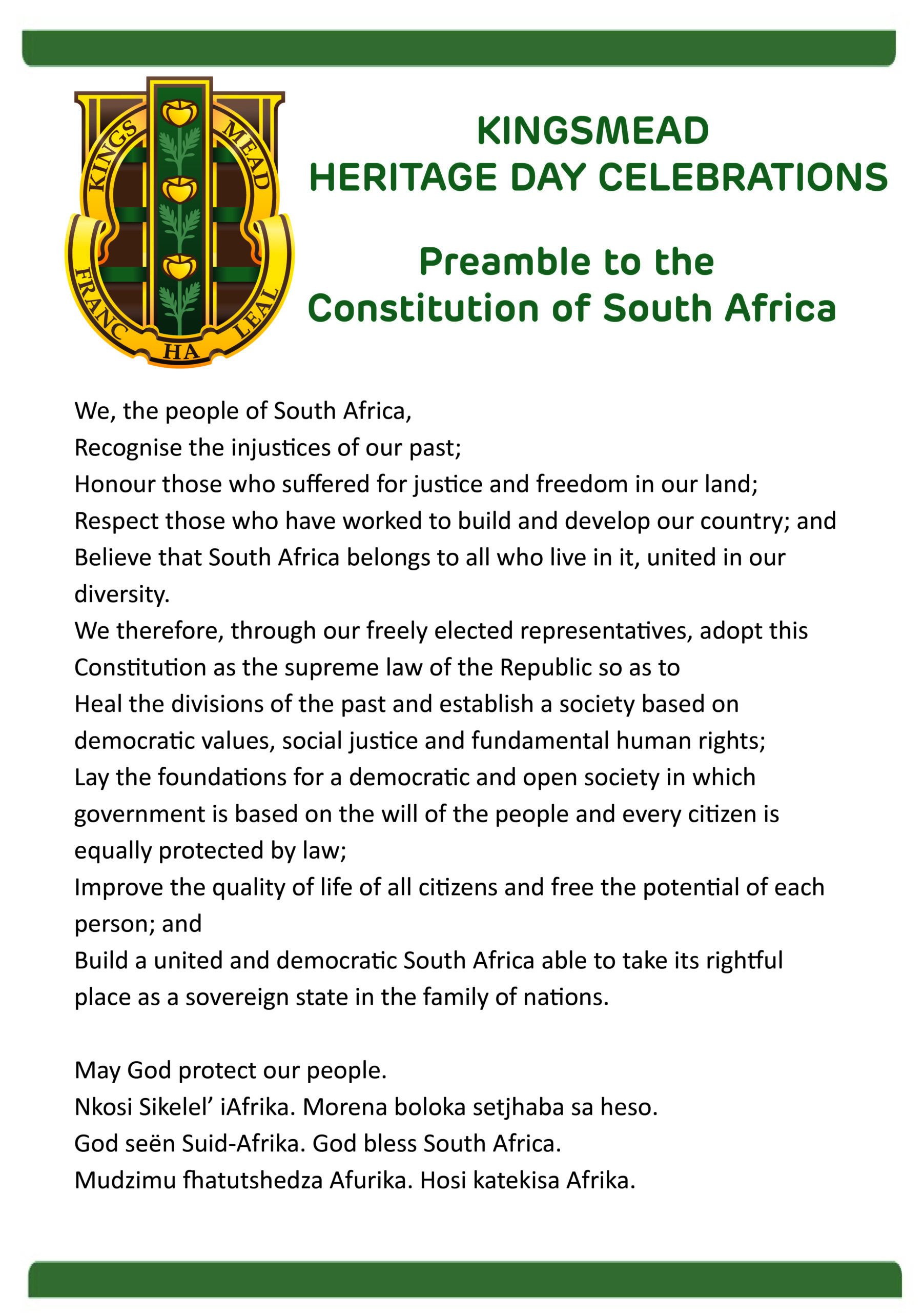 Preamble to SA Constitution scaled Kingsmead College