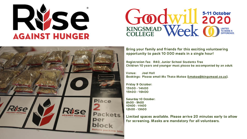 Goodwill Rise Against Hunger Poster1024 1 1 Kingsmead College