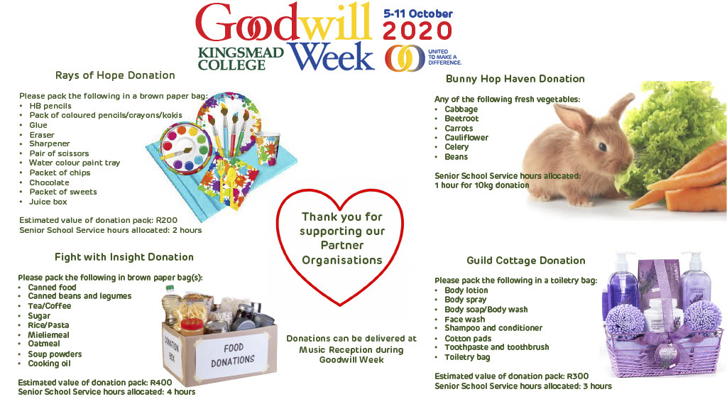 Goodwill Week Donations 20201024 1 Kingsmead College