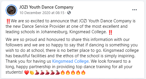 15 JOZI Youth Dance Company – Posts Facebook Kingsmead College